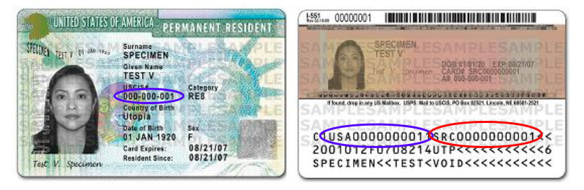permanent resident card sample