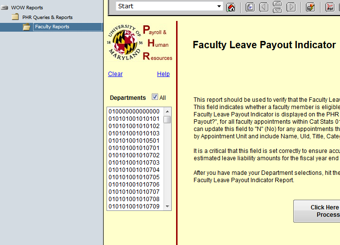 Faculty leave payout indicator